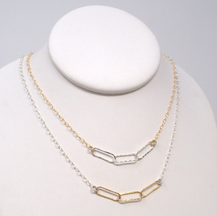 Mixed Metals Paperclip Necklace