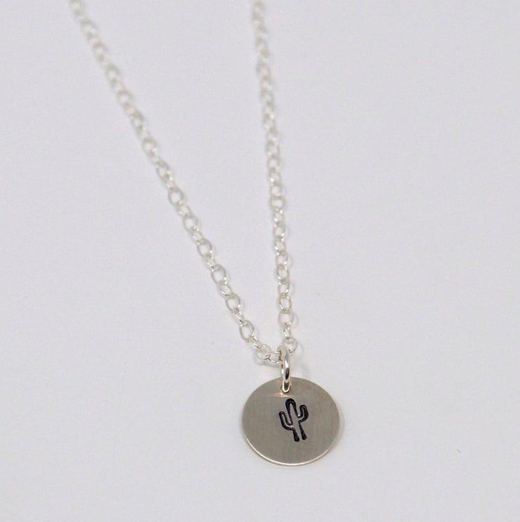 Personalized Cactus Sterling Silver Necklace