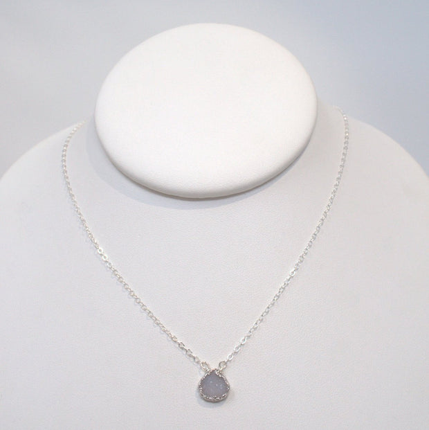White Druzy & Sterling Silver Necklace