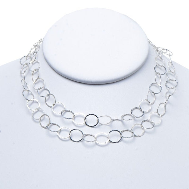10mm Sterling Silver Hammered Long Chain