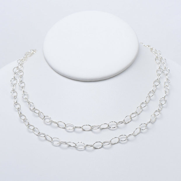 Sterling Silver Oval Long Chain