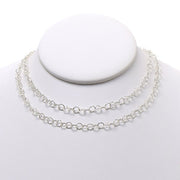 5mm Sterling Silver Hammered Long Chain