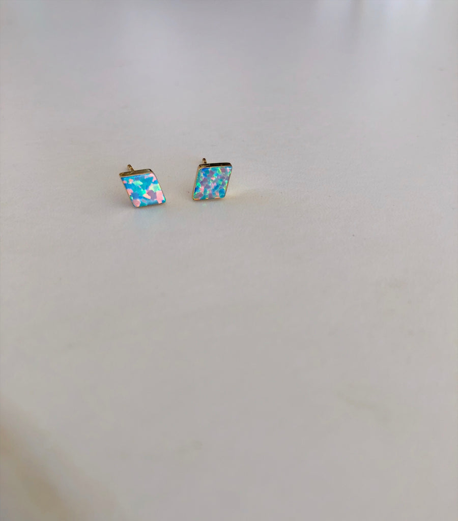 White Opal Diamond Stud Earrings