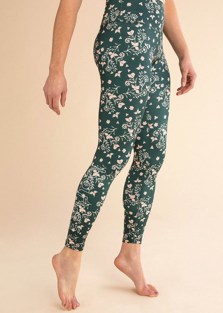 B3 x Beyond Yoga Emerald Floral High Waisted Midi Legging