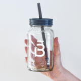 Glass Mason Jar with Straw