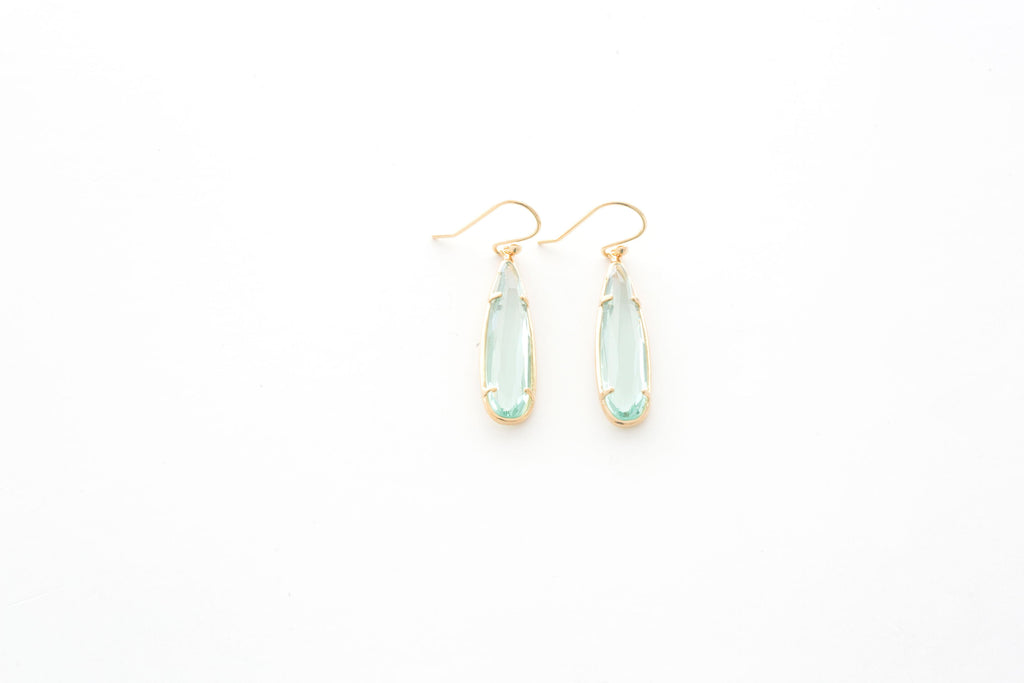 Mint Crystal Water Drop Earrings