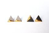 Ceramic Gold Dipped Triangle Earrings