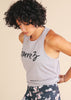 Grey High Neck Script Tank