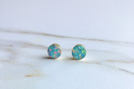 Opal Circle Stud Earrings