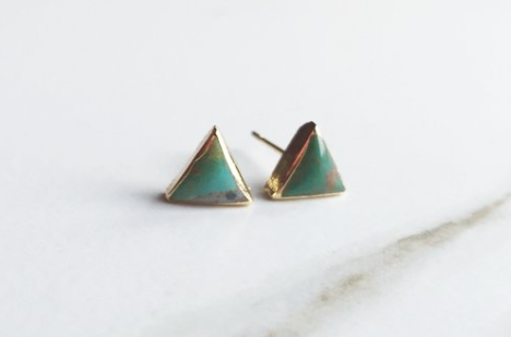Triangle Gemlet Stud Earrings