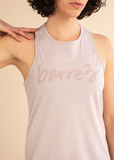 Light Mauve High Neck Script Tank