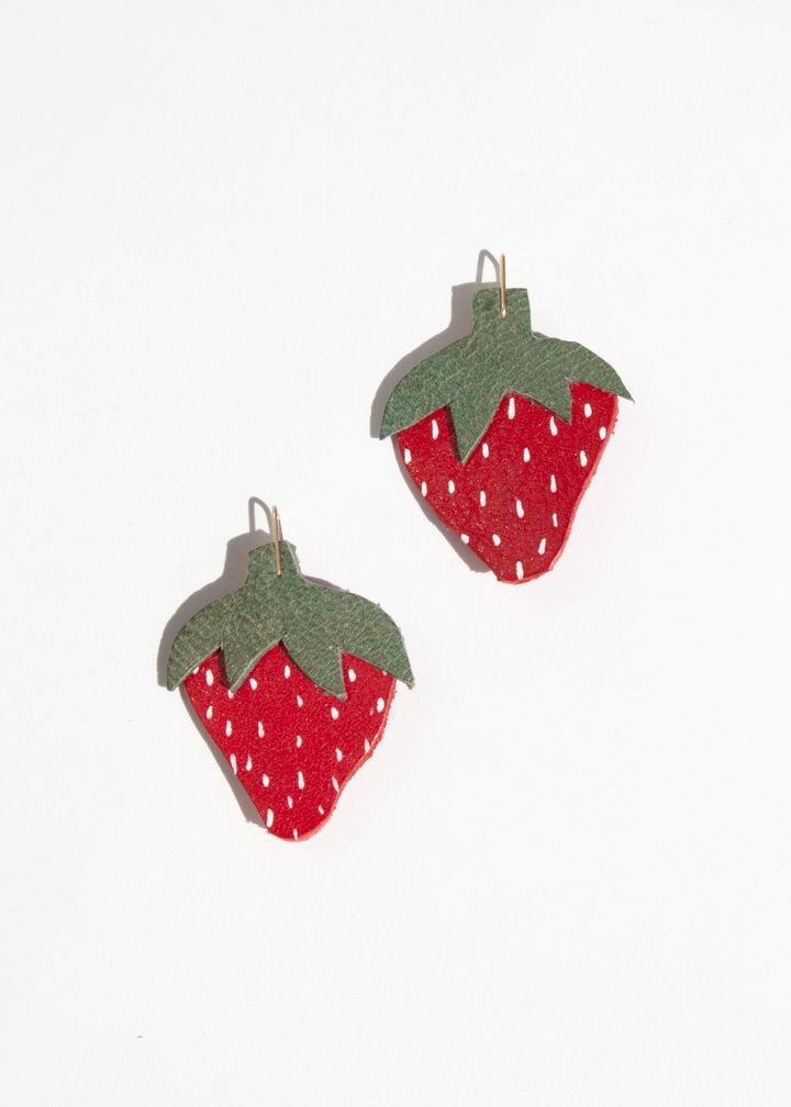 Strawberry Leather Earrings