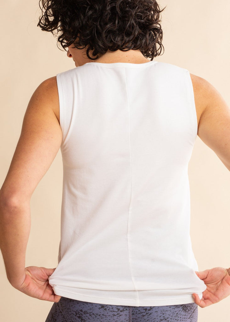 White Tonal Pocket Tank