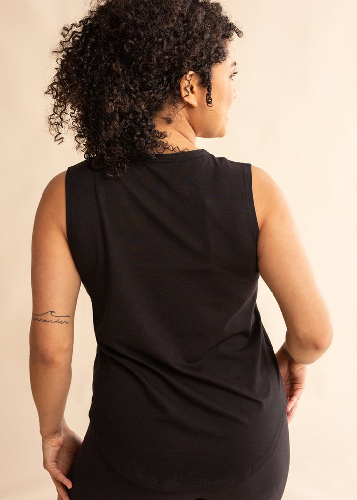 Black Scoop Tonal Tank