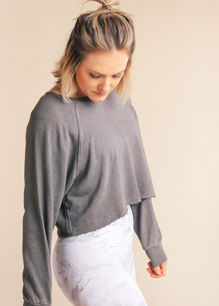 Raw Edge Raglan Sweatshirt