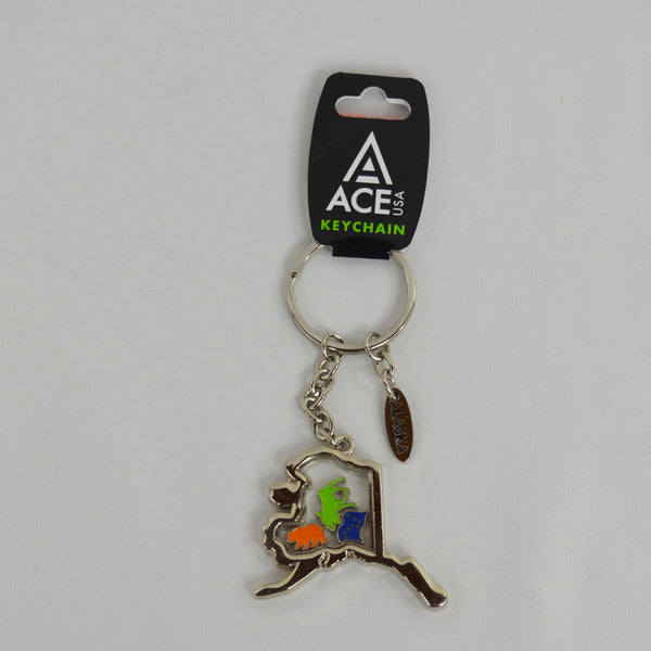 Metal AK State with Charms Keychain