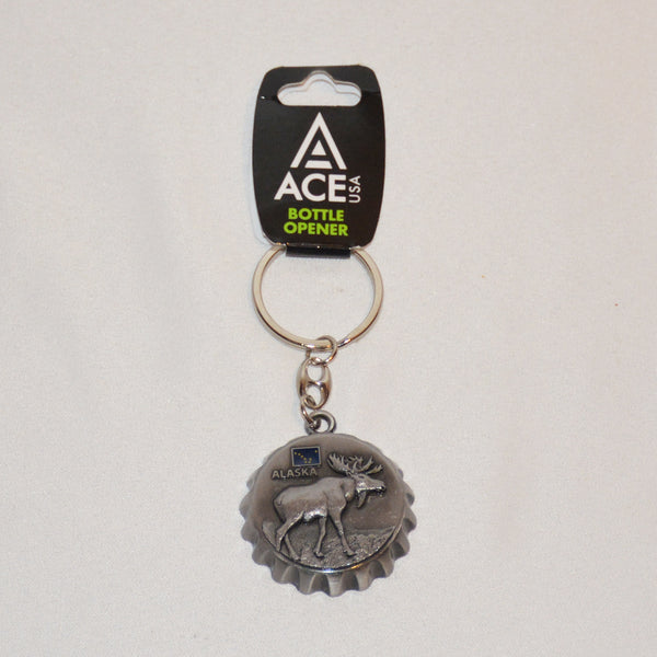 Bottle Opener Moose Cap Keychain