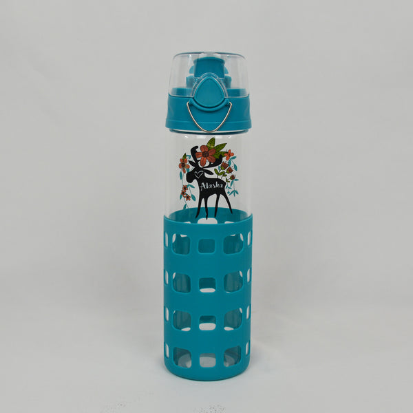 Crewel Moose Glass Water Bottle