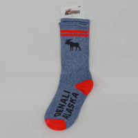 Red Two Stripe Moose Sock