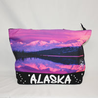 Black and Pink Mountain Sunset Tote Bag