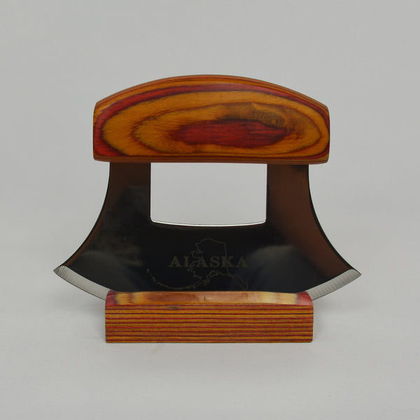 Ulu Knife With A Multi Colored Wood Handle