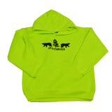 Neon Green Bear Kids Hoodie Small