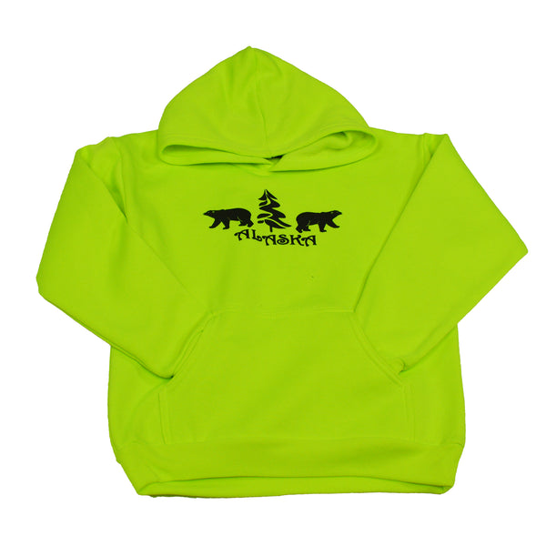 Neon Green Bear Kids Hoodie Medium