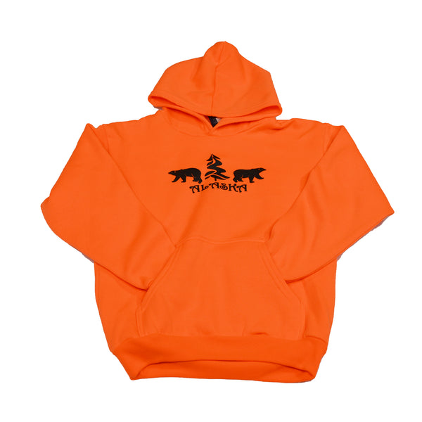 Neon Orange Bear Kids Hoodie Small