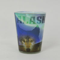Northern Lights Wolf Shot Glass