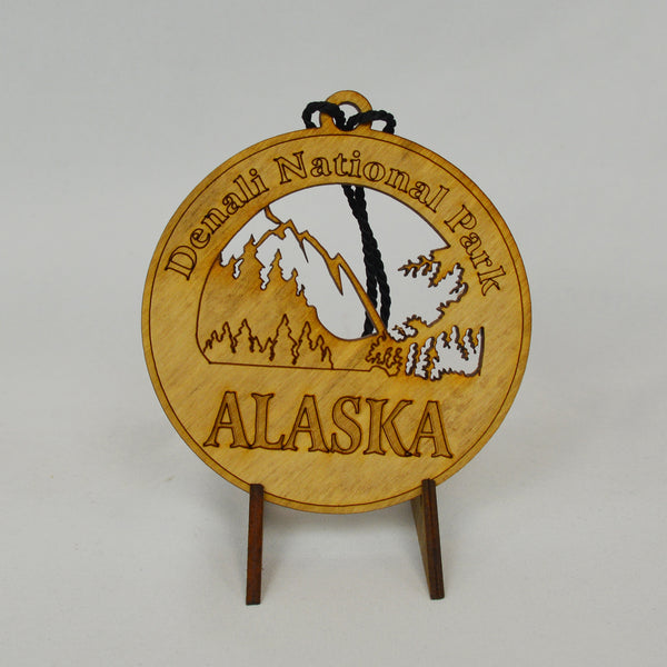 Denali National Park Round Wood Ornament