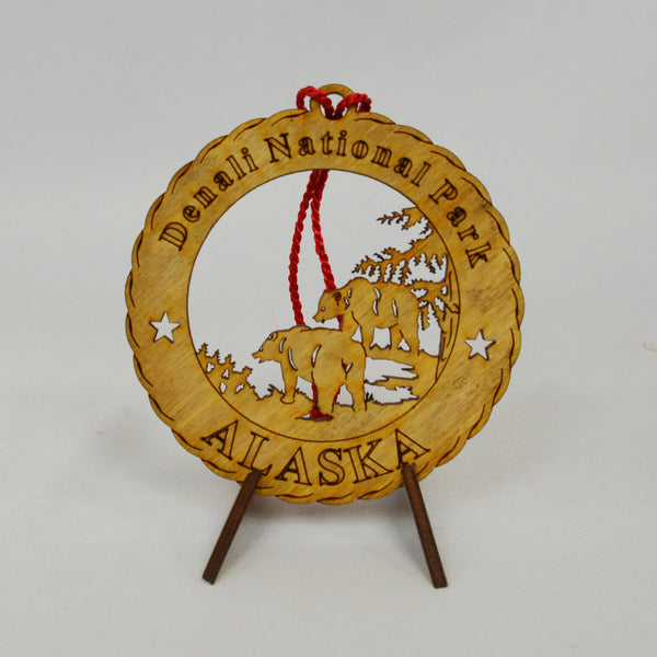 Denali National Park Bears Round Wood Ornament