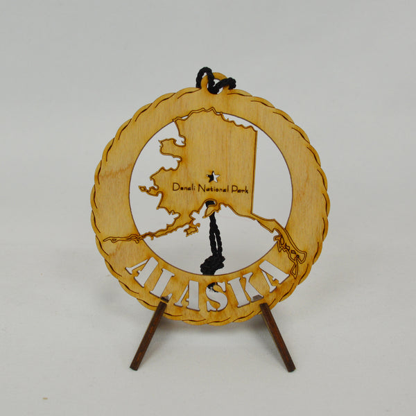 State Round Wood Ornament