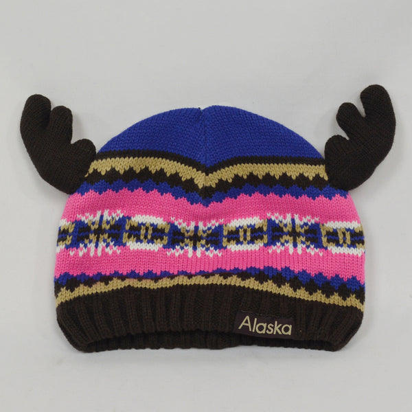 Girl Toddler Knit Hat with Antlers