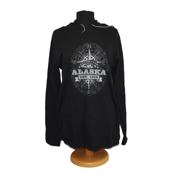 Topographic Compass Hooded Adult Long Sleeve T-Shirt