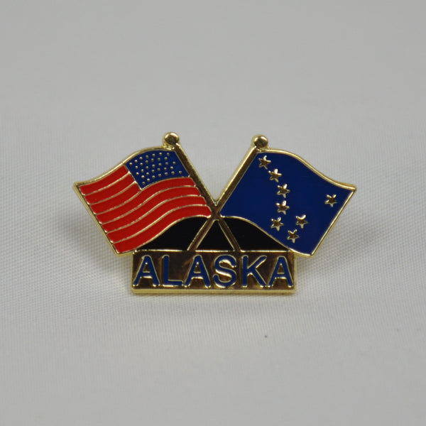 USA and Alaska Flags Pin