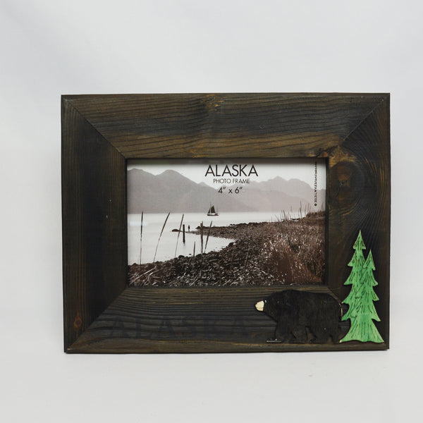 Wood Bear & Tree Picture Frame