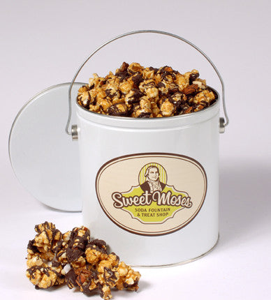 Chocolate-Drizzled Caramel Corn with<br/>Almonds & Pecans <br/>1-Gallon Tin