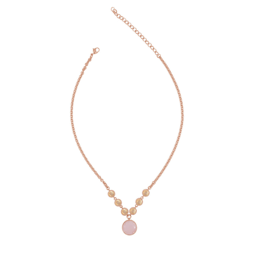 pink chalcedony in rose gold necklace by Kristine Lily