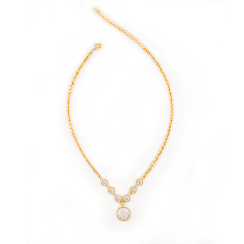 Kristine Lily clear quartz statement necklace