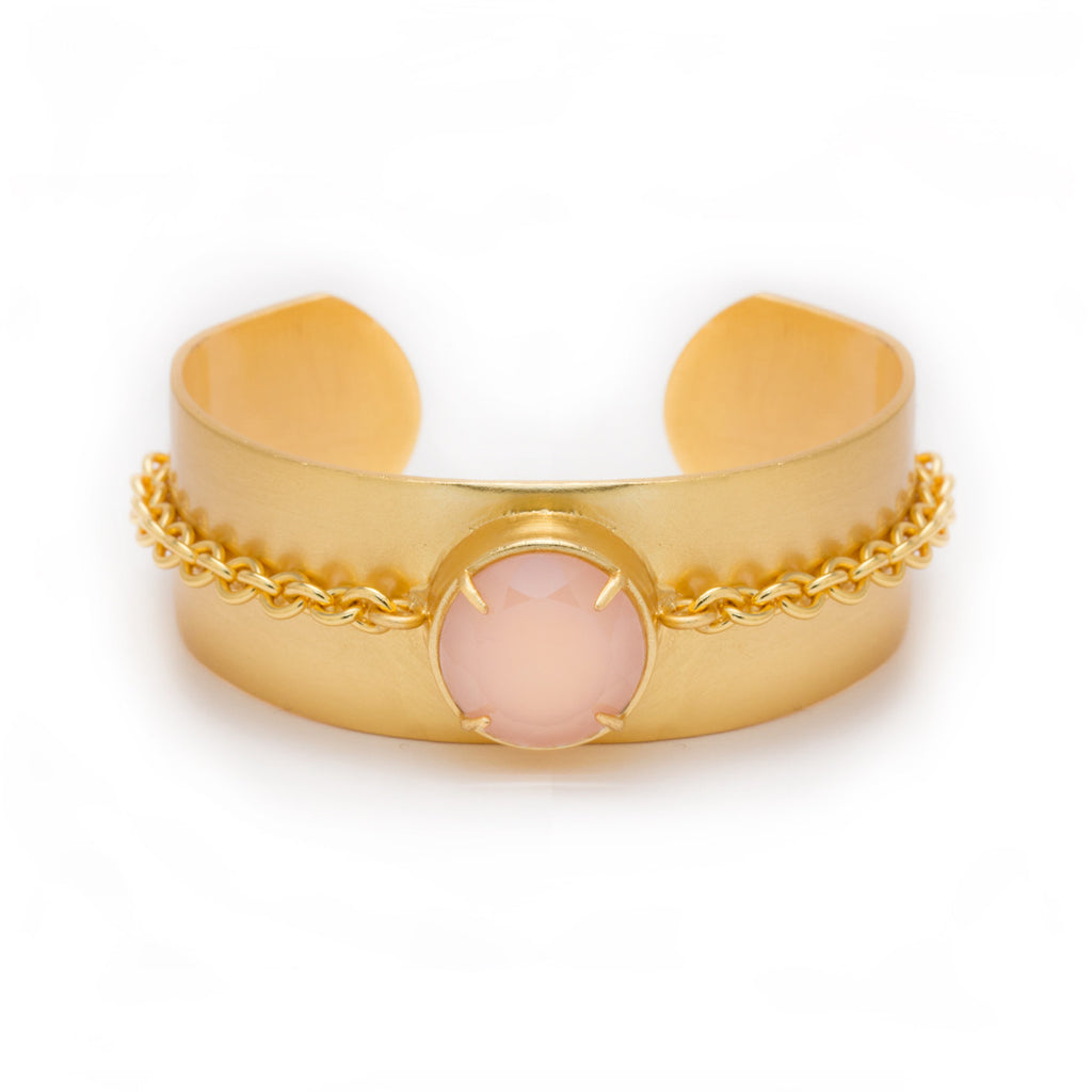 Pink Chalcedony in Yellow Gold Statement Cuff by Kristine Lily