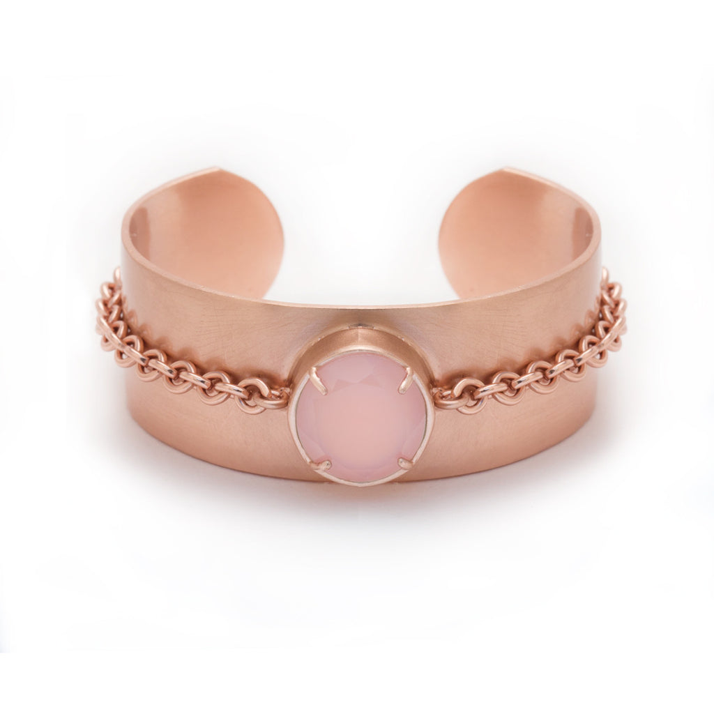 pink chalcedony in rose gold chain cuff