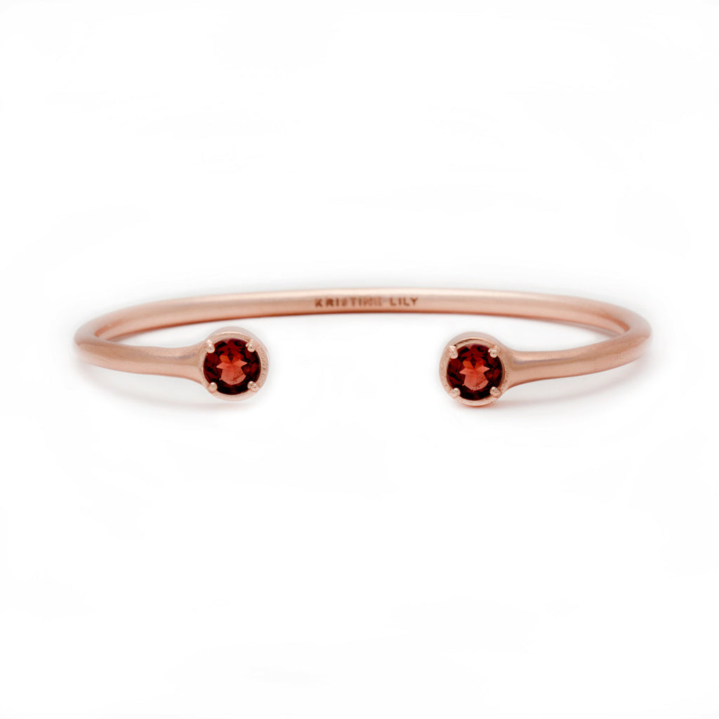 Garnet in Rose Gold Cuff bracelet