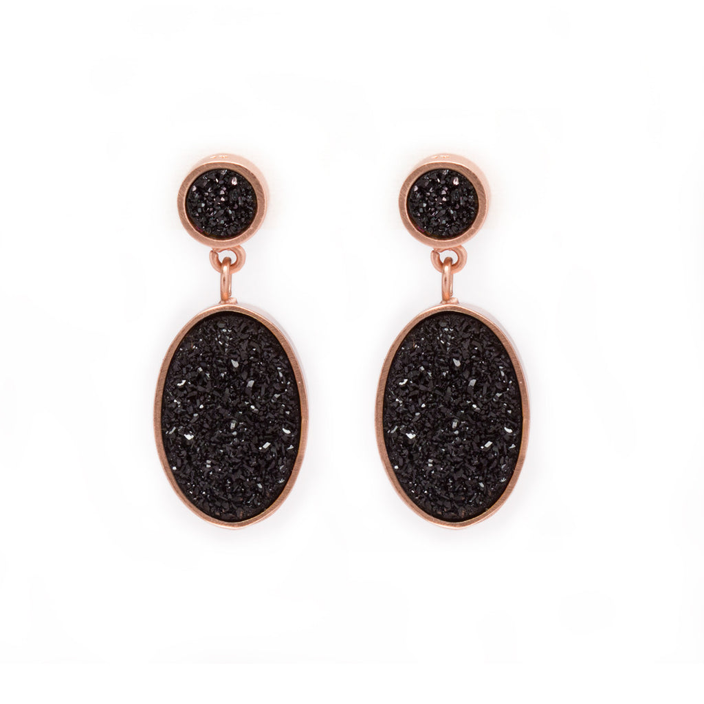 Black Druzy in Rose Gold Earrings by Kristine Lily