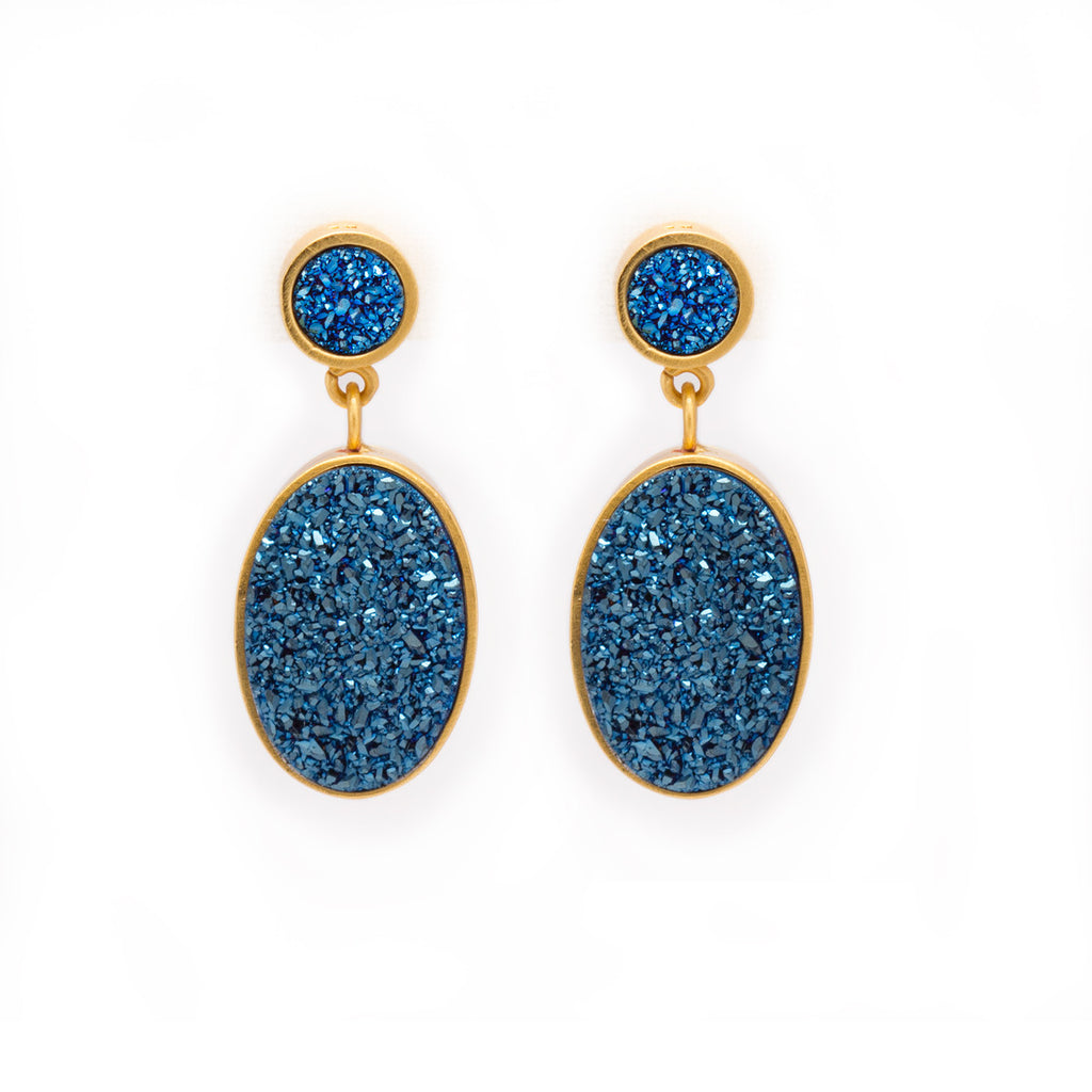 Blue Druzy Earrings - jewelry
