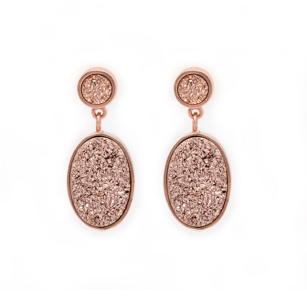 Rose Gold Druzy Drop Earrings by Kristine Lily