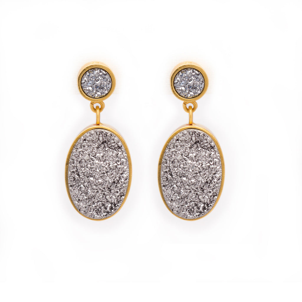 Druzy Statement Earrings by Kristine Lily