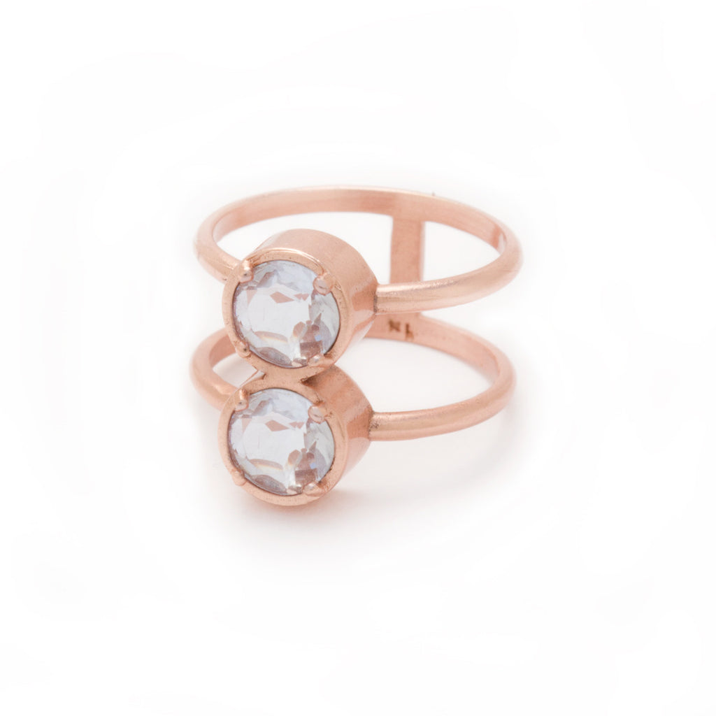 Rose Gold Clear Quartz Ring by Kristine Lily - jewelry