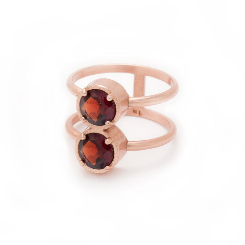 Garnet in Rose Gold Double Ring