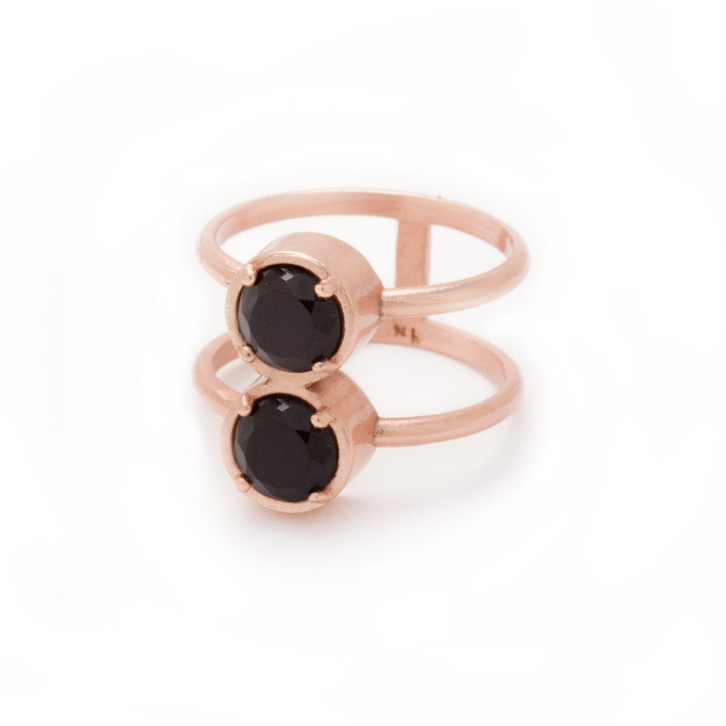 Onyx in Rose Gold Gemstone Ring - Kristine Lily