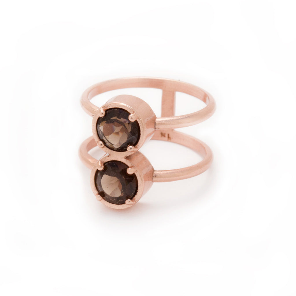 Smoky Quartz in Rose Gold Ring